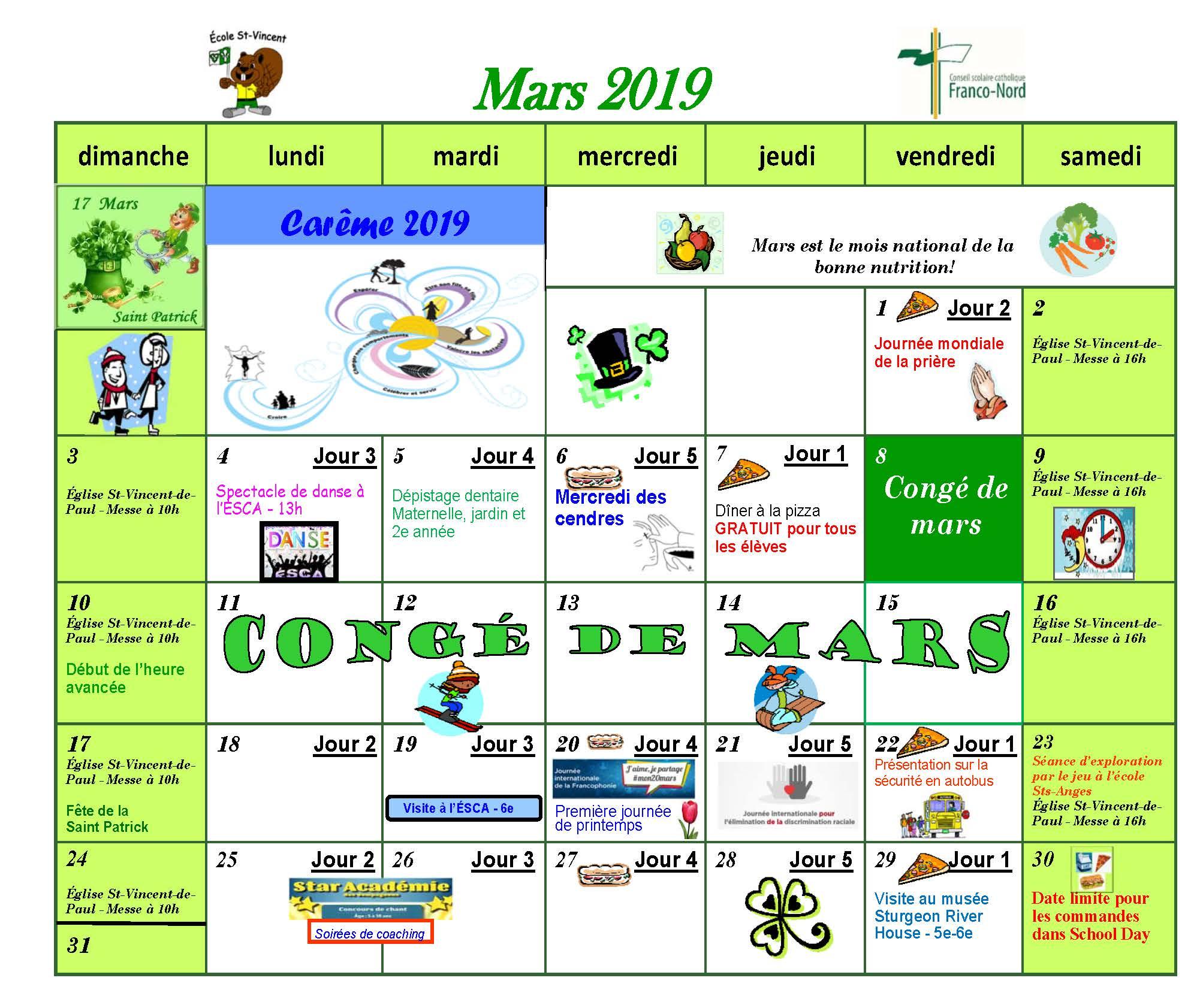 Calendrier De Mars 2019.Calendrier D Activites Mars 2019
